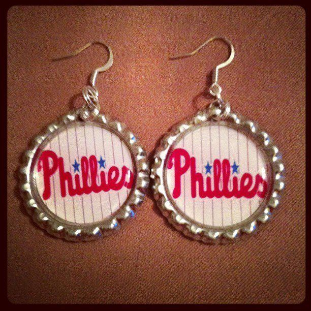 Phillies inspired Earrings Made with Flattened Bottle Caps Philadelphia #Jewelry #Fashion #Earrings