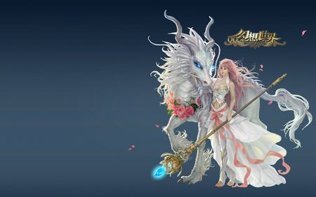 Firend of White Dragon - beautiful, white dragon, firend, fantasy, other, female