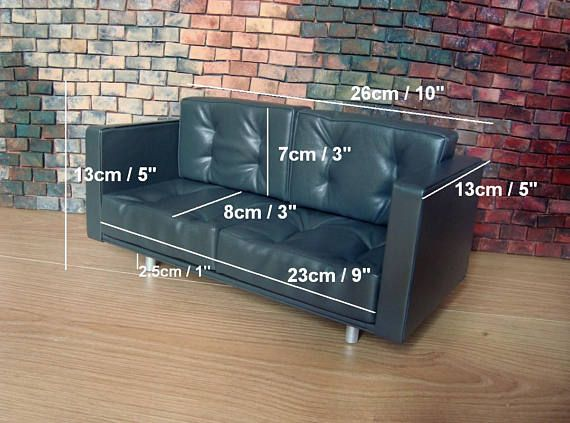 Awe Inspiring Dark Grey Leather Doll Sofa 1 6 Scale Sofa 1 8 Scale Sofa Pdpeps Interior Chair Design Pdpepsorg