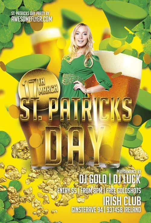 free st patricks day gold flyer template http freepsdflyer com