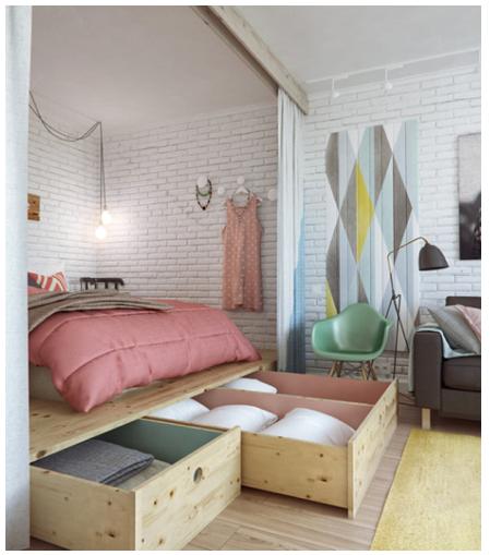 Chambre avec rangement.