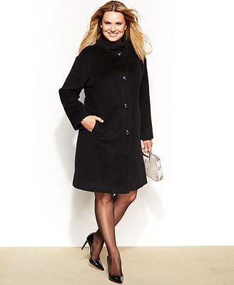 Jones New York Plus Size Single-Breasted Walker Coat