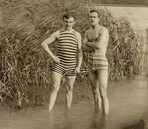 Two Men Wearing Striped Swimming Costumes - Germany, 1920S -1817