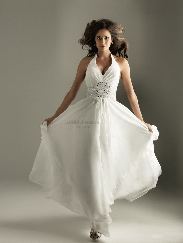 Aline halter white chiffon beading floorlength dress style