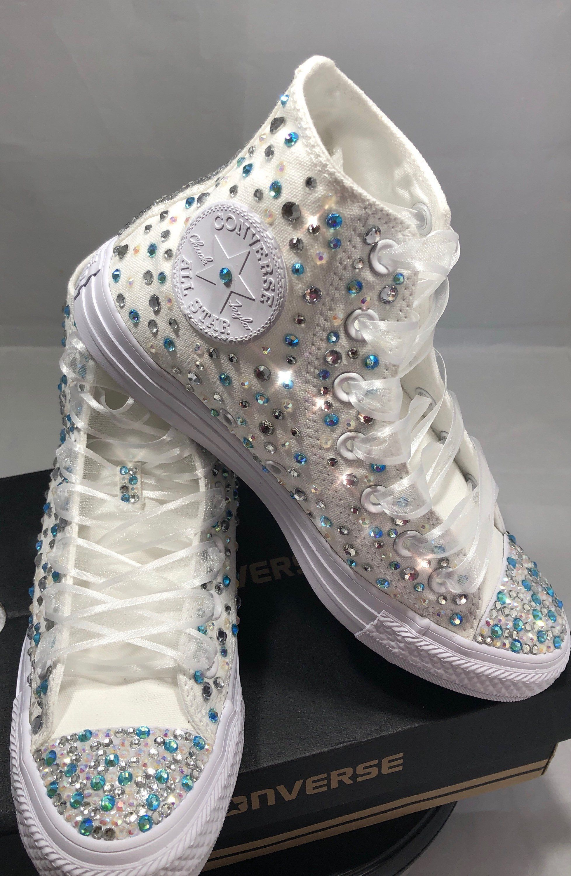 Converse bling diamonds rhinestone Red Flower Crystal 5 6 girl shoes custom NEW