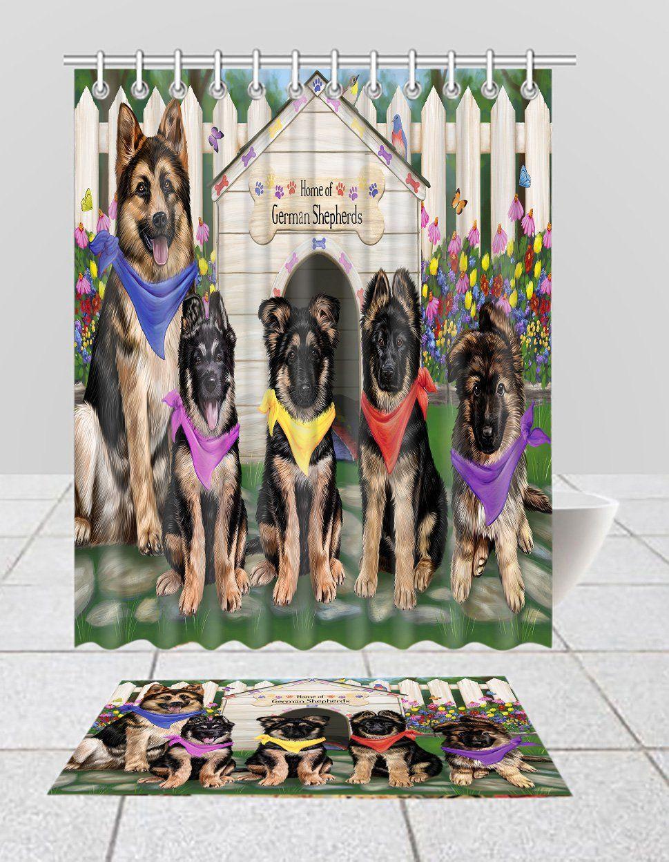 Spring Dog House German Shepherd Dogs Bath Mat And Shower Curtain