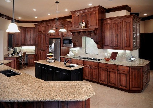 Birch cabinetry cherry stain finish traditional kitchen for Finished kitchen cabinets