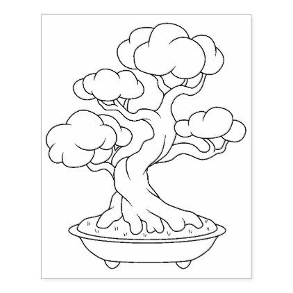 Japanese Bonsai Tree In A Tray Coloring Page Rubber Stamp Zazzle
