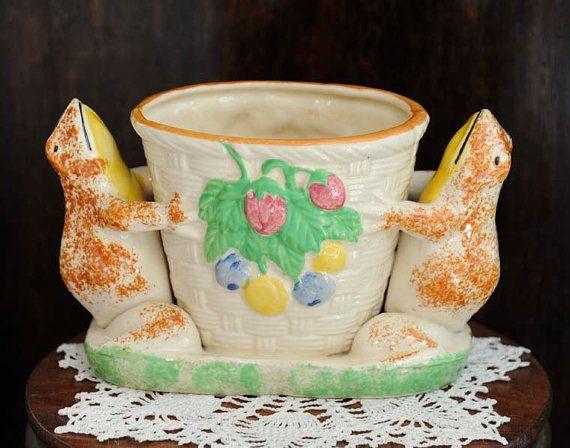 Vintage Whimsical Japanese Majolica Vase.. by cottagetocastle