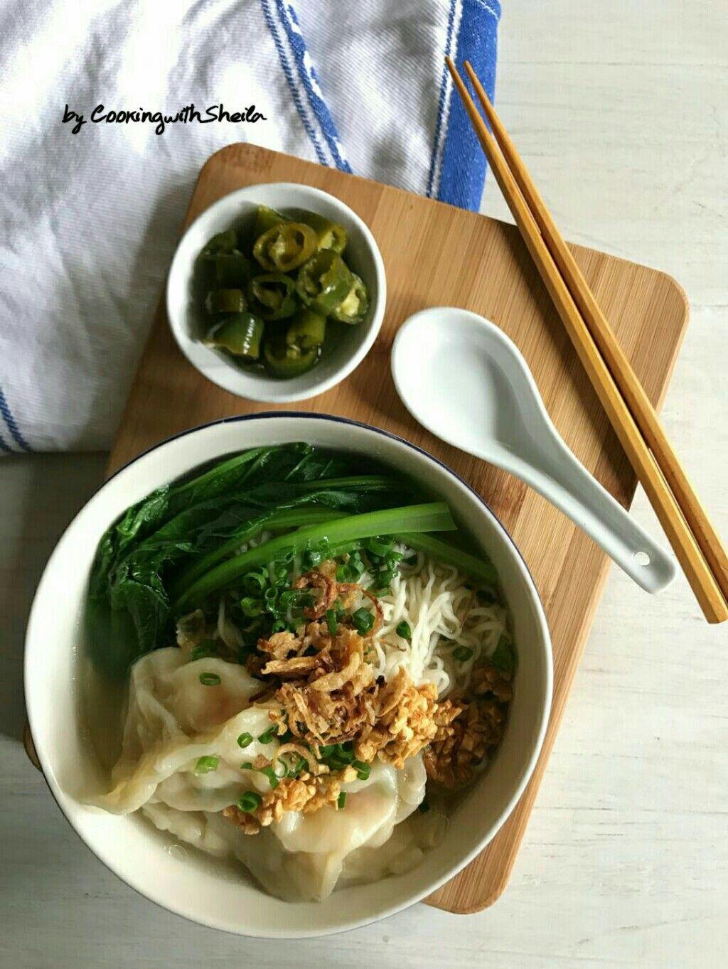 Prawn Wonton Noodles Soup Sup Wonton Memasak