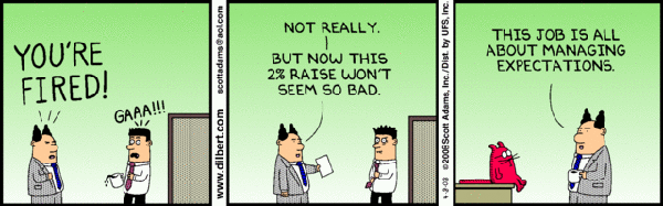 Managing expectations is a though job! #cartoon #business #management | Hr  humor, Work humor, Dilbert comics