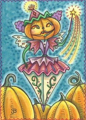 PUMPKIN FAIRY Faerie JACK O LANTERN Halloween Susan Brack Original Art...enchantedsleighstudio