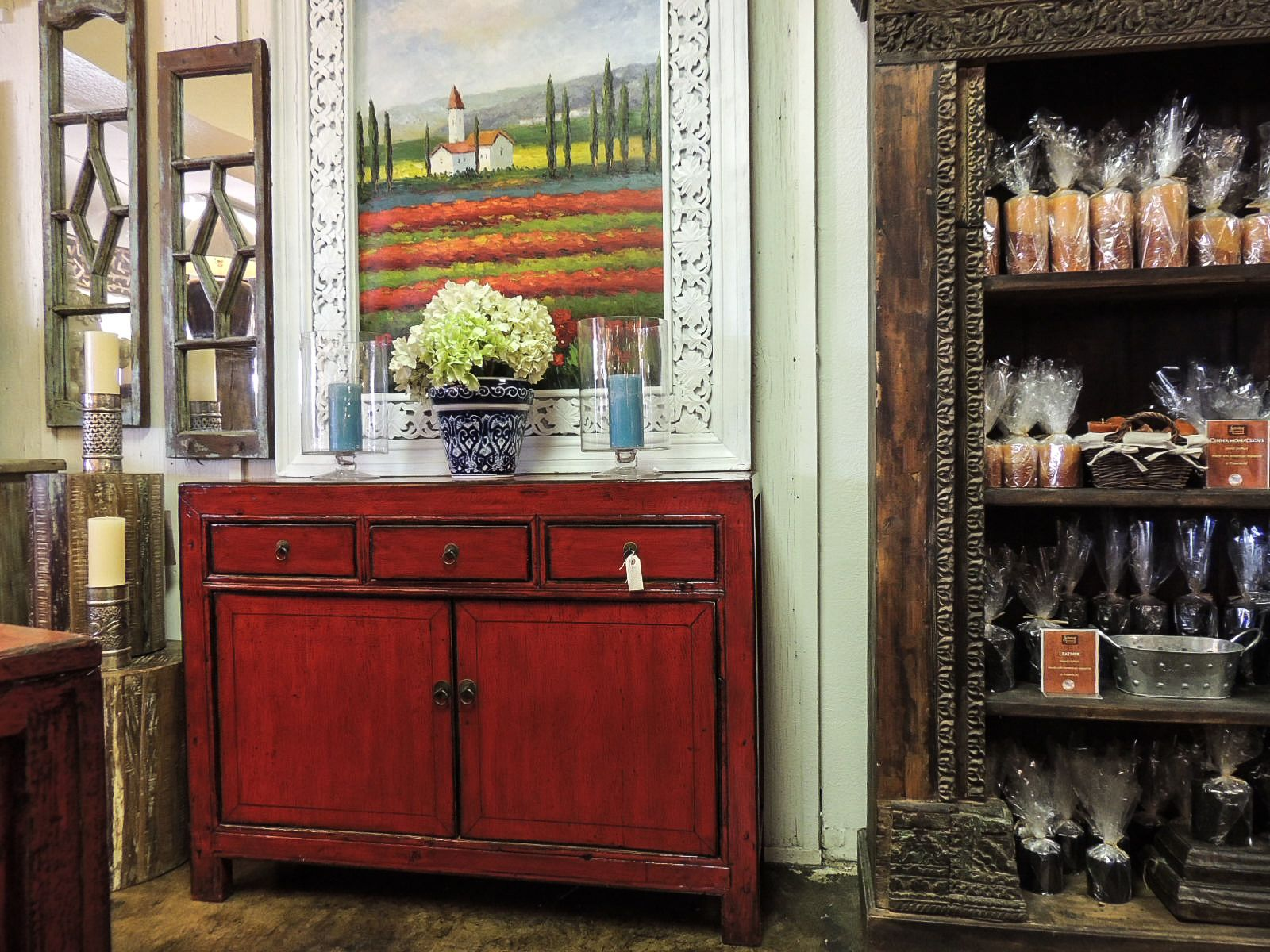 #Buffet #Buffets #Cabinet #Red #Chinese #Painting #Frame #Frames #Candle #Candles