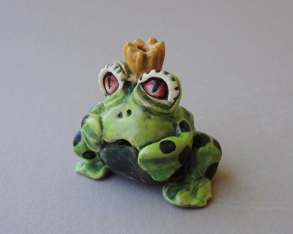 Frog King Rattle Hand Built Sculpture by FlowerandPearlStudio, $45.00