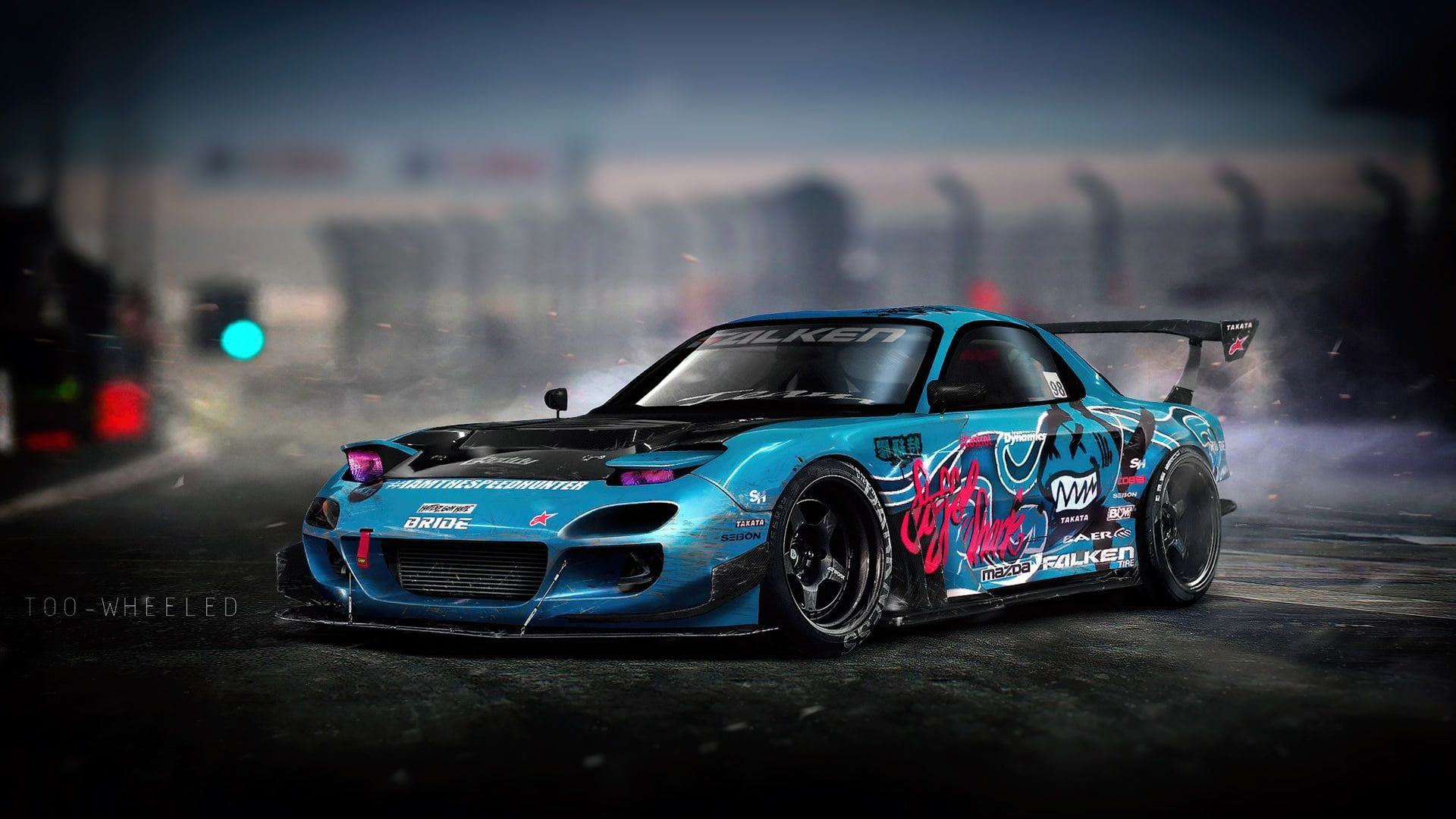 Auto Blue Machine Drift Mazda Illustration Mazda Rx7 Mazda Rx 7 Rx7 Vinyls Transport And Vehicles By Too Wheeled Too Wheeled 1080p In 2020 Mazda Rx7 Rx7 Mazda