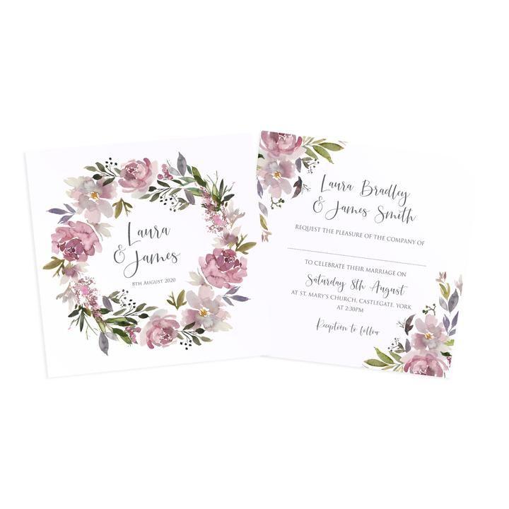 Dusty Rose Wedding Invitations, Square, Mauve, Dusky Pink, Pink Rose, – STNStationery #dustyrosewedding