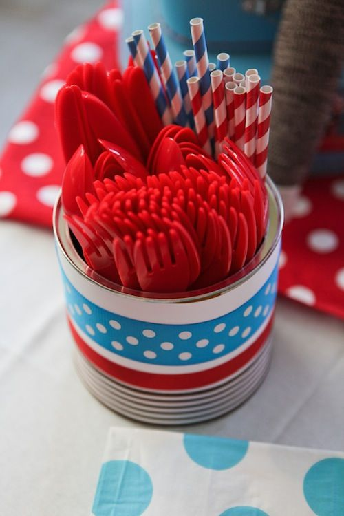 Quick, inexpensive way to display your party utensils: use an empty formula can and wrap in paper and ribbon! #socialcircus