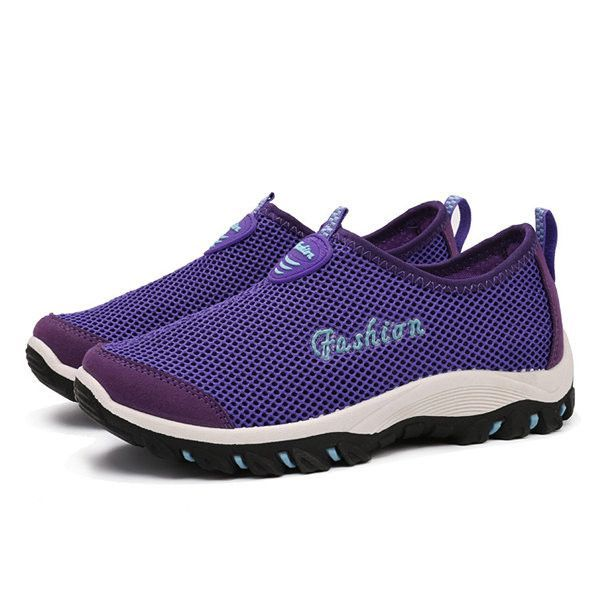 Big Size Men Women Lover Mesh Breathable Light Slip On Flat Sport Shoes