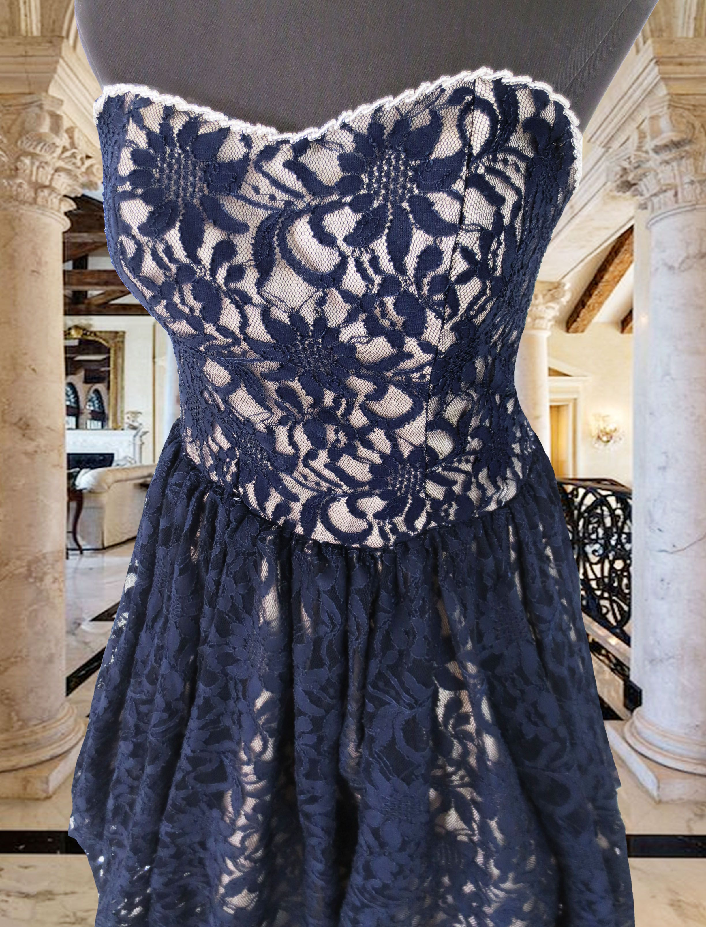 blue lace cocktail dress for rent Php1k www.gownforent.com Debut ...