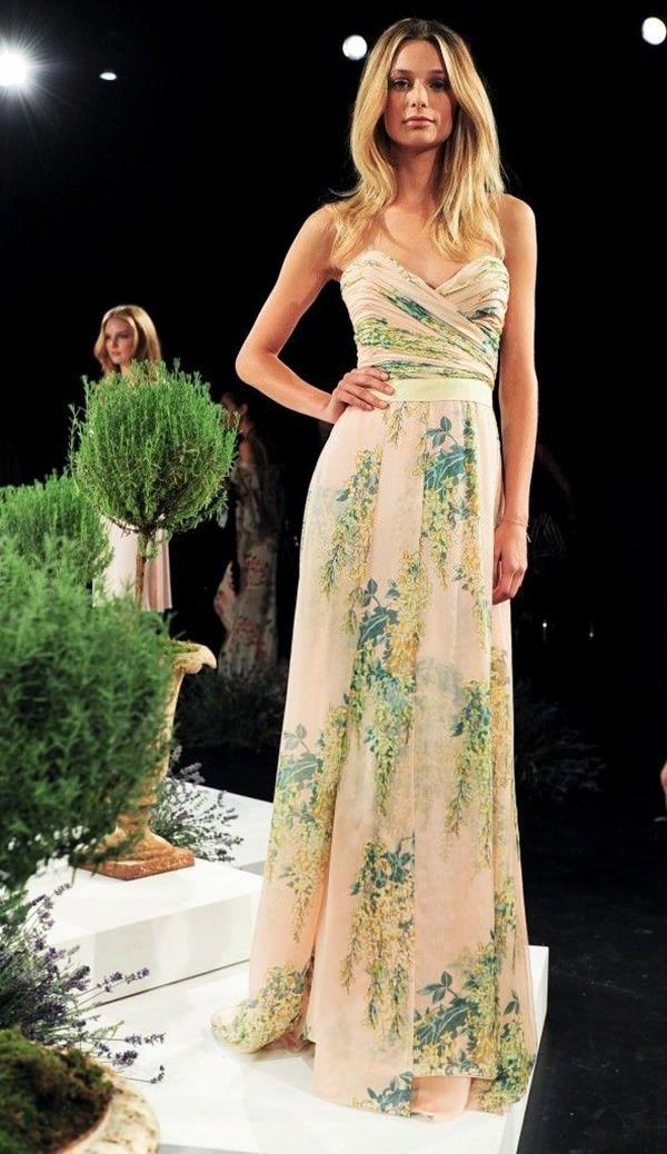 white green floral wedding dress