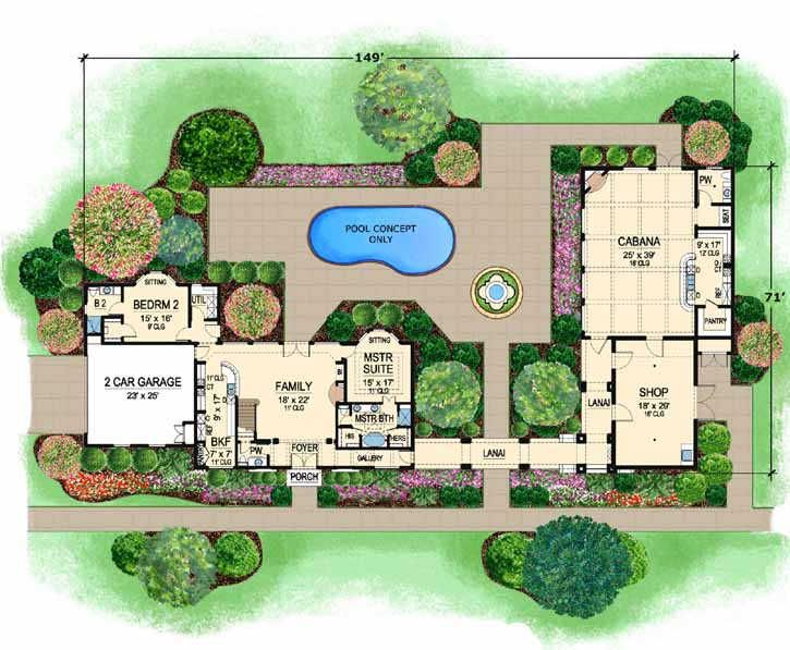 Mediterranean style house plans 2502 square foot home 2 for 3 bedroom mediterranean house plans