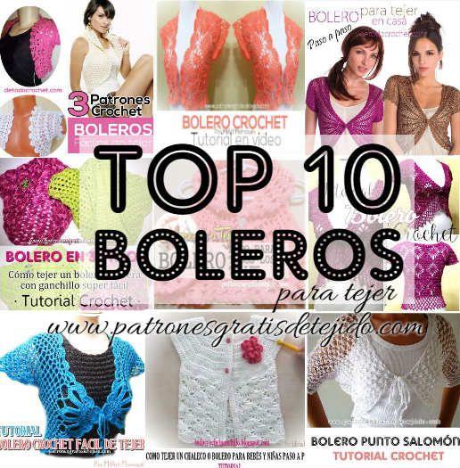 10 patrones y tutoriales de boleros tejidos para mujer | tejidos ...