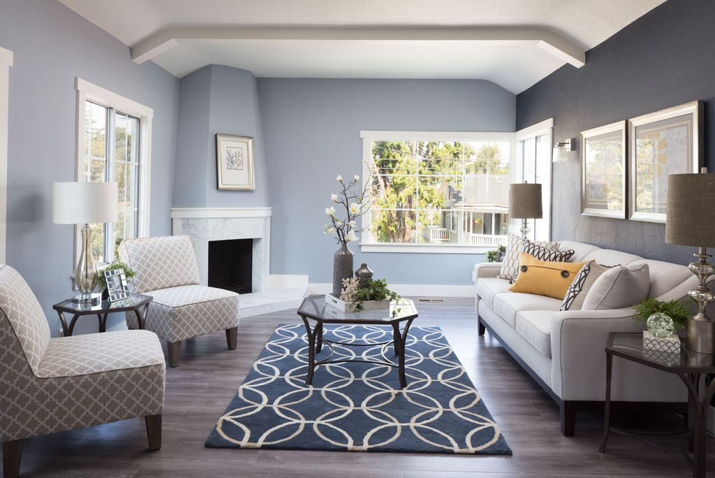 Best Blue Grey Living Room With Patterned Chairs Carpet And 640 x 480