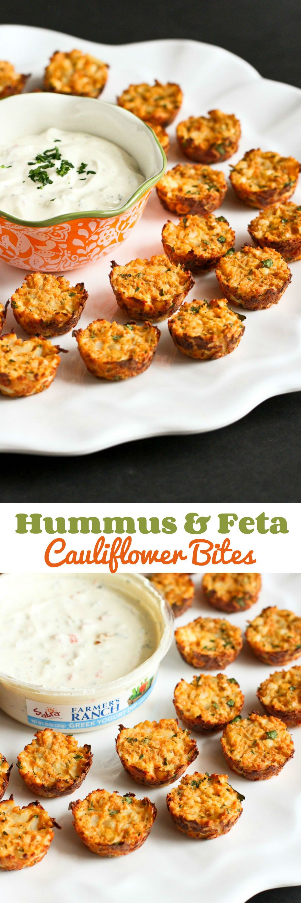 Baked Cauliflower Bites with Hummus & Feta - Healthy Appetizer Recipe