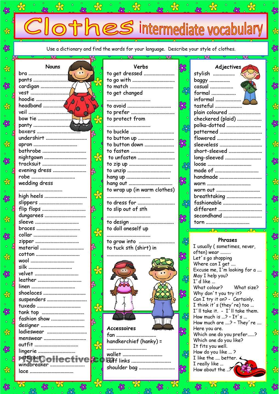 worksheet Esl Advanced Vocabulary Worksheets clothes vocabulary for intermediate level pinterest worksheet free esl printable worksheets made by teachers
