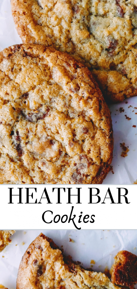 Easy heath bar cookie recipe right here! THE BEST cookies with toffee bits and chocolate rolled into a brown sugar cookie for a chewy and amazing flavor! Families holidays kids friends- everyone will love these!