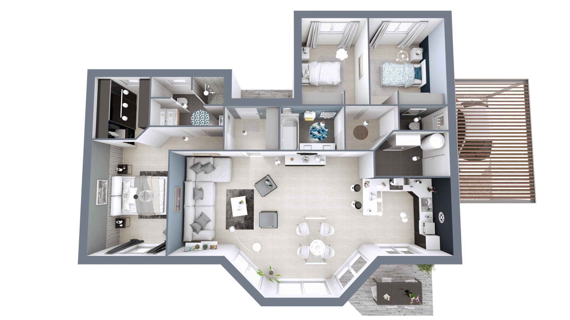 Plan 3d Maison Contemporaine Modele Lumiere Maisons Mca Maison Mca Plan Maison 100m2 Maison