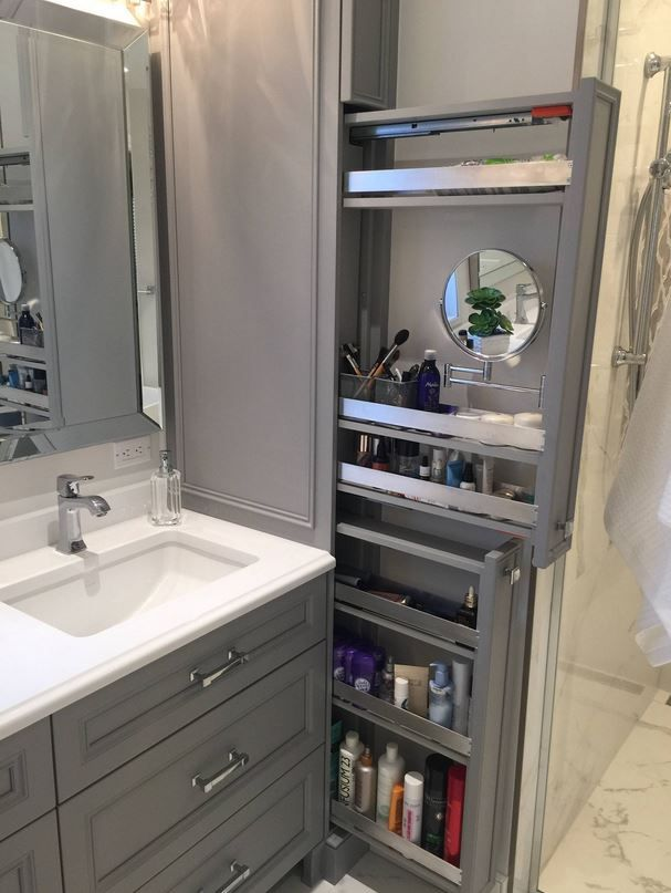 Great Option For Makeup Storage In Bathroom Cabinetry Bathroom