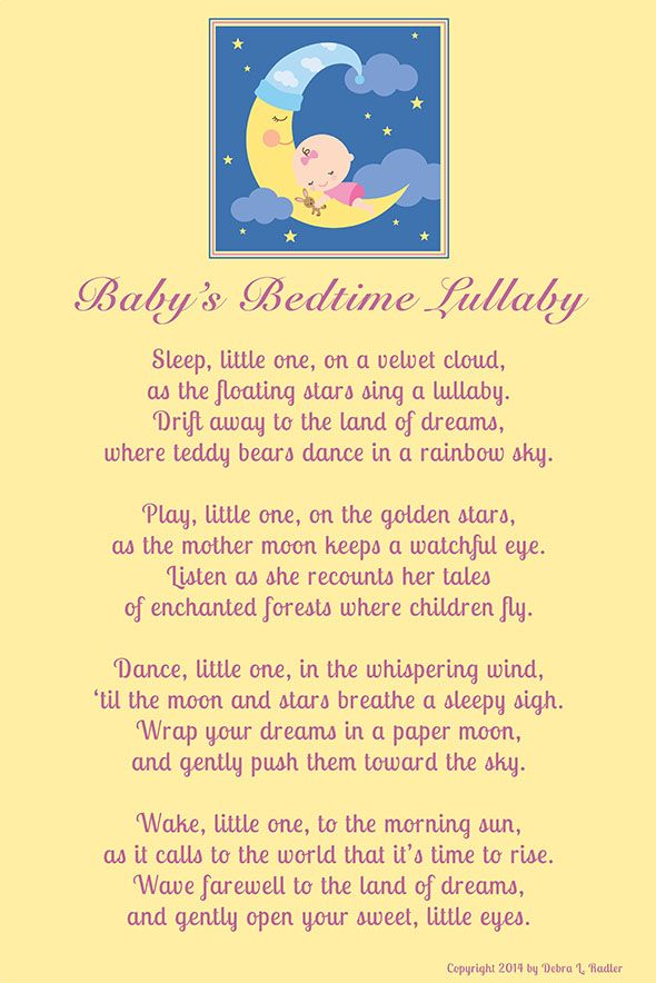 Baby\'s Bedtime Lullaby-Girl on Moon stretched canvas wall art ...