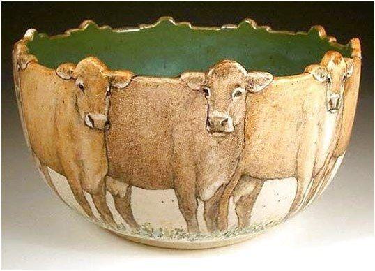 Jersey Cows Bowl By Nan Hamilton #PotteryHomeDecor Click