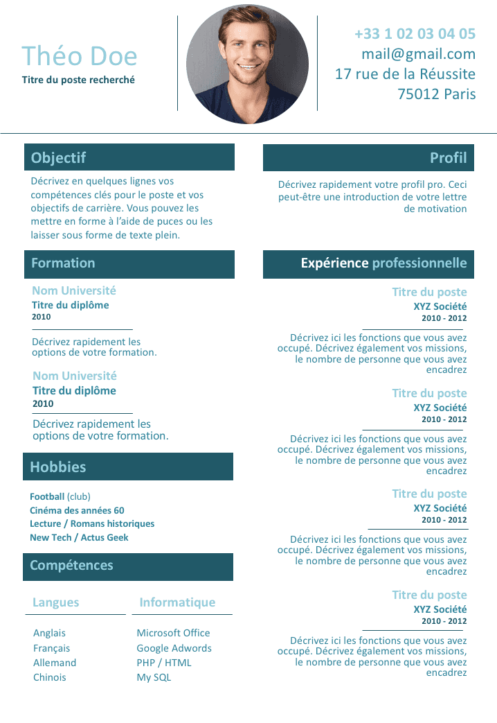 Célèbre CV de travailleur indépendant | lll | Pinterest | Travailleuse, Cv  BP35