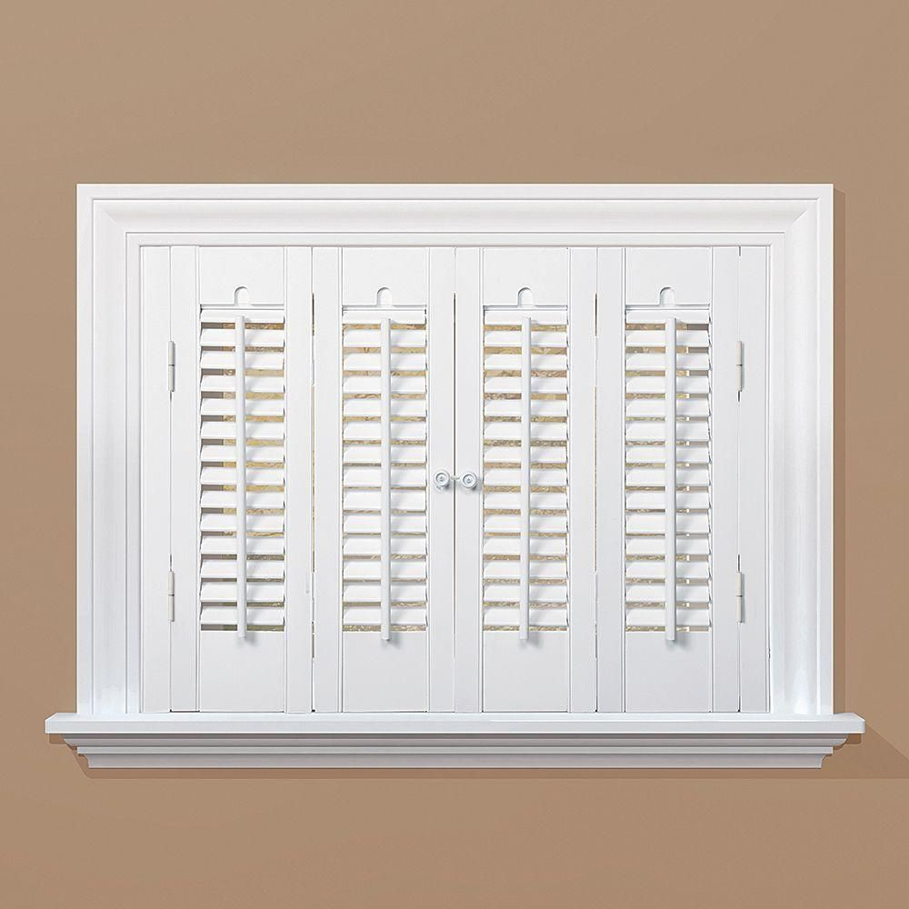 Homebasics Traditional Real Wood Snow Interior Shutter Price Varies By Size Qstc2720 The Home Depot