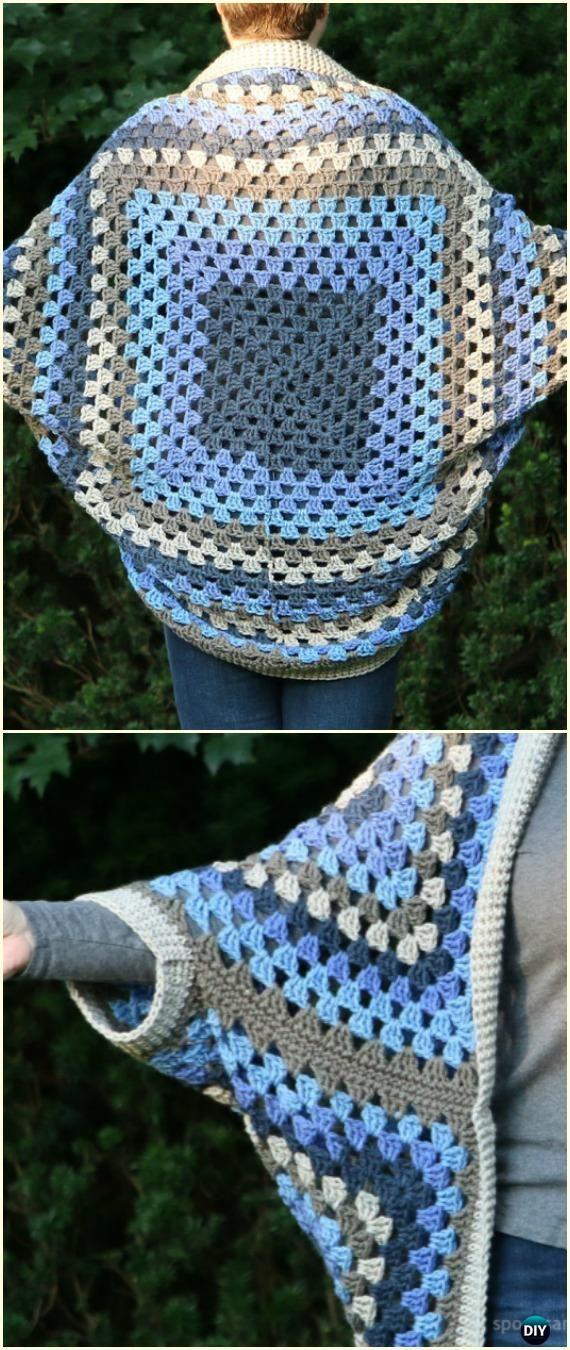 Crochet Self-striping Granny Square Cocoon Cardigan Free Pattern ...