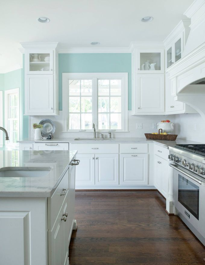 Charmant ... In Glass Fronts Are What Iu0027m Getting, Light Turquoise, Blue Green, Aqua,  Aquamarine, Sherwin Williams Reflecting Pool, White Kitchen With Teal Accent