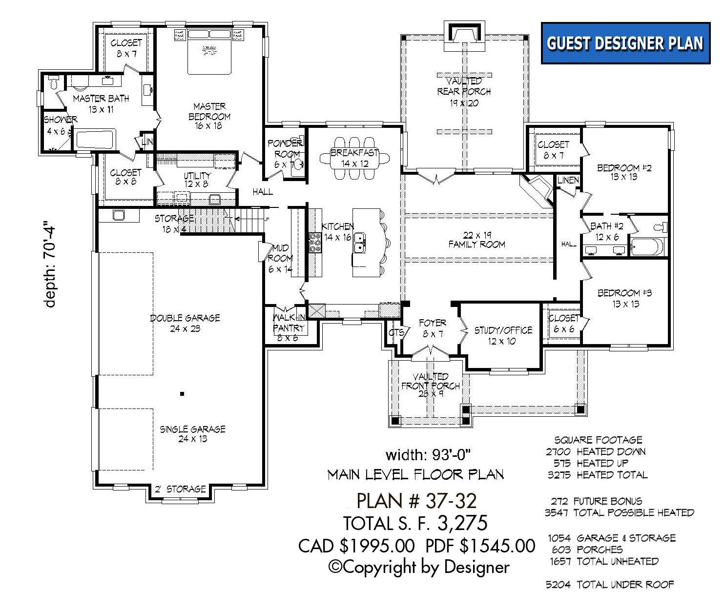 House Plan 37 32 Vtr Garrell Associates Inc Open Concept House Plans House Plans House Plans One Story