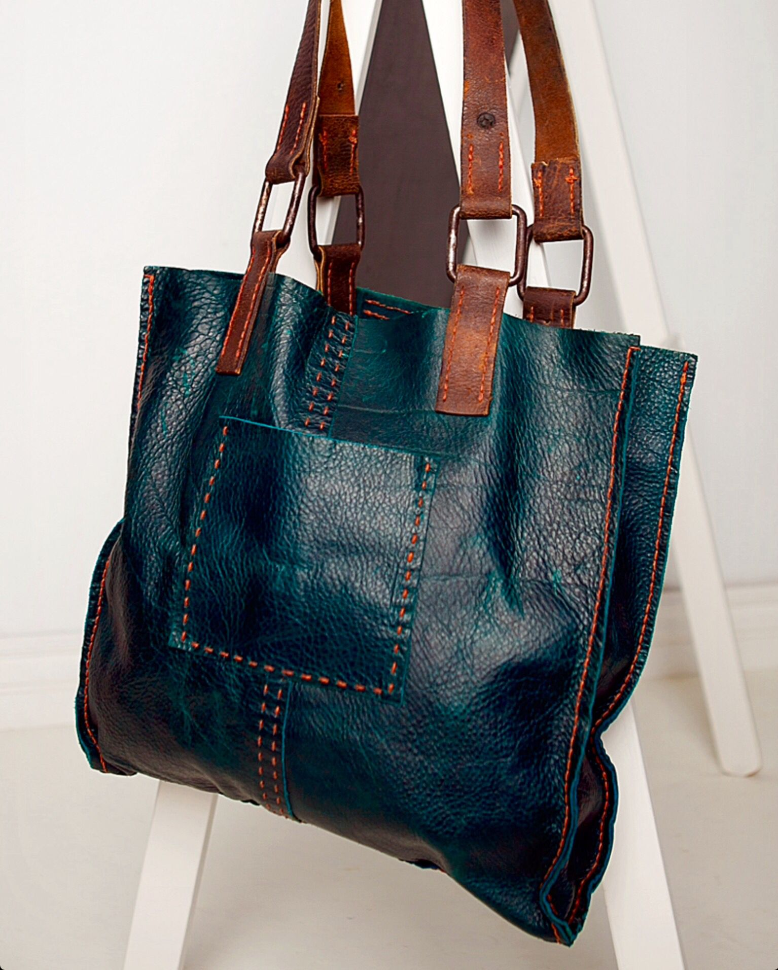 CIBADO leather bags Entirely hand sewn teal buffalo leather tote  incorporating vintage horse tack to become handles and decorative detail.  easy casual cool ... e0a30b79399fd