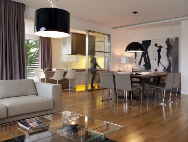 Wohnzimmer Lumen ~ Wohnzimmer küche in einem glas couchtisch essbereich holzboden