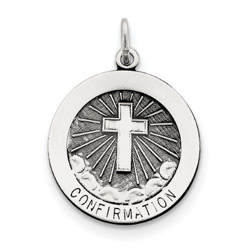 925 Sterling Silver Confirmation Medal (22x25mm) Pendant / Charm, Women's