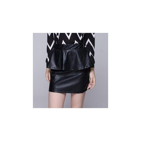 Faux-Leather Layered Pencil-Cut Skirt (40 PEN) ❤ liked on Polyvore featuring skirts, women, layered skirt, fake leather skirt, blue skirt, blue pencil skirt and faux leather skirt