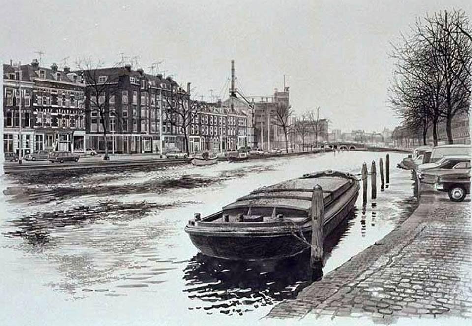 Zaagmolenkade - Linker Rottekade. Tekening: Jan Burgerhout, 1975
