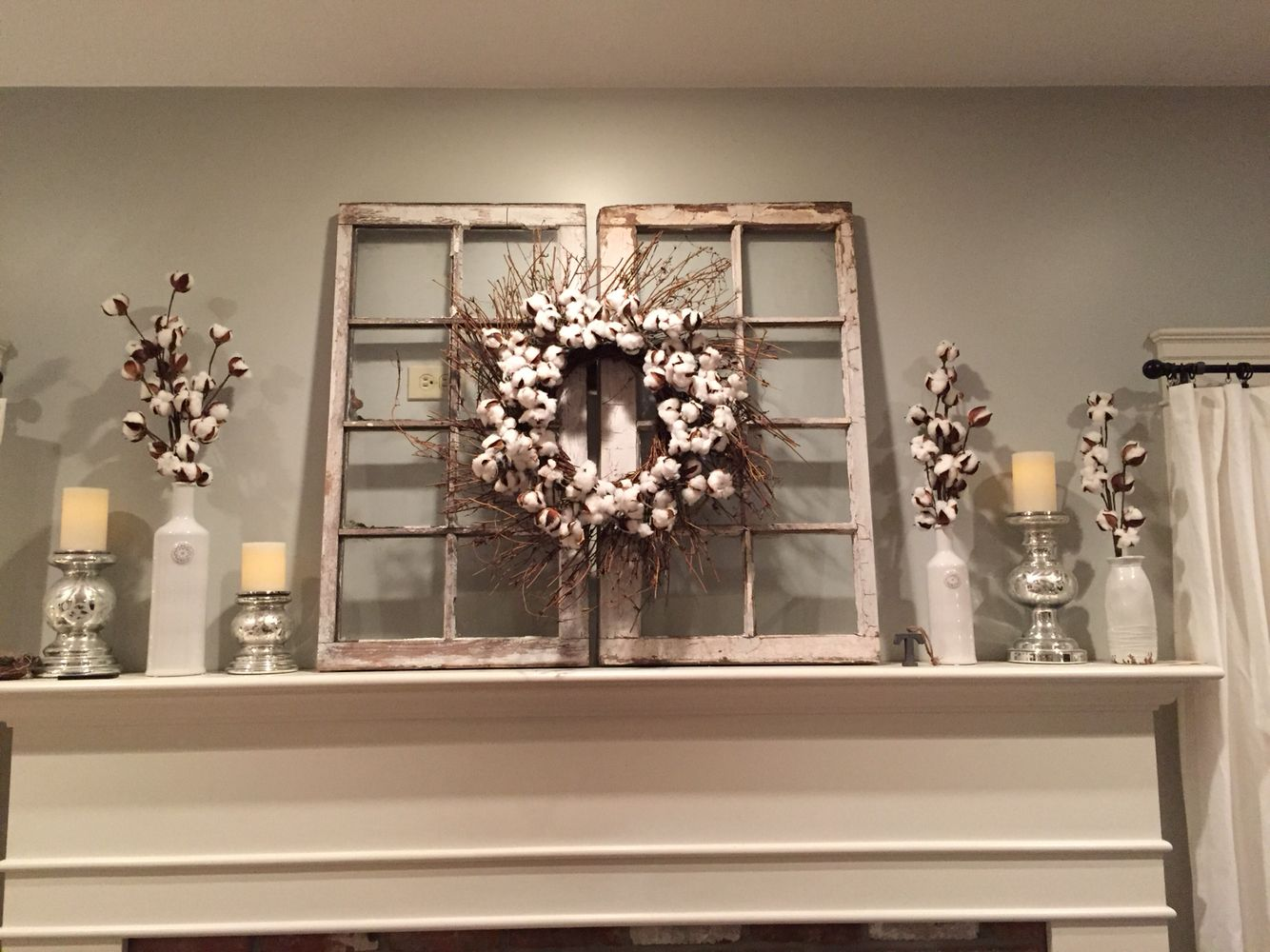 Magnolia market cotton wreath hgtv fixer upper for the for Picture window decorating ideas