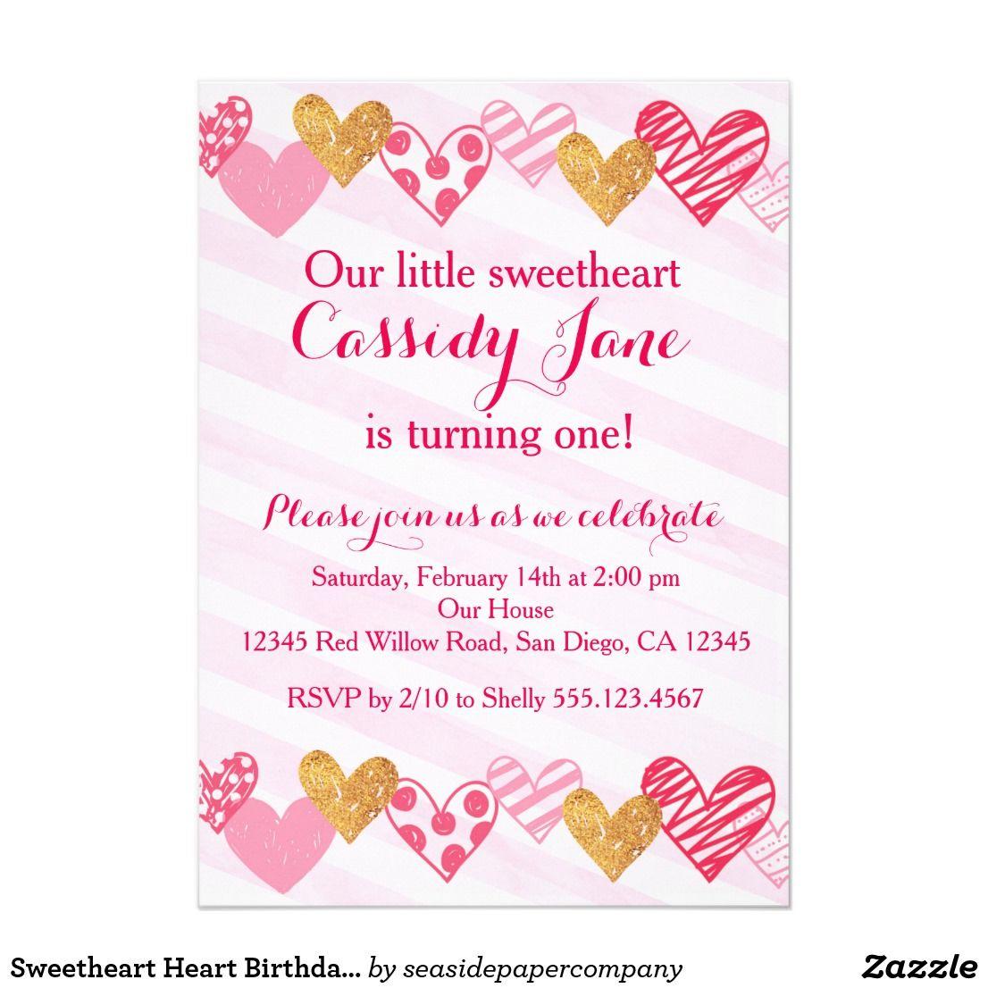 Sweetheart Heart Birthday Invitation Birthdays