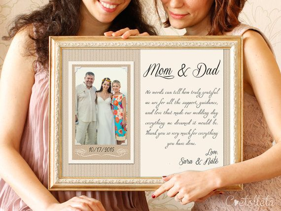 Thank You Parents Wedding Gift - Parents Thank You gift Wedding ...