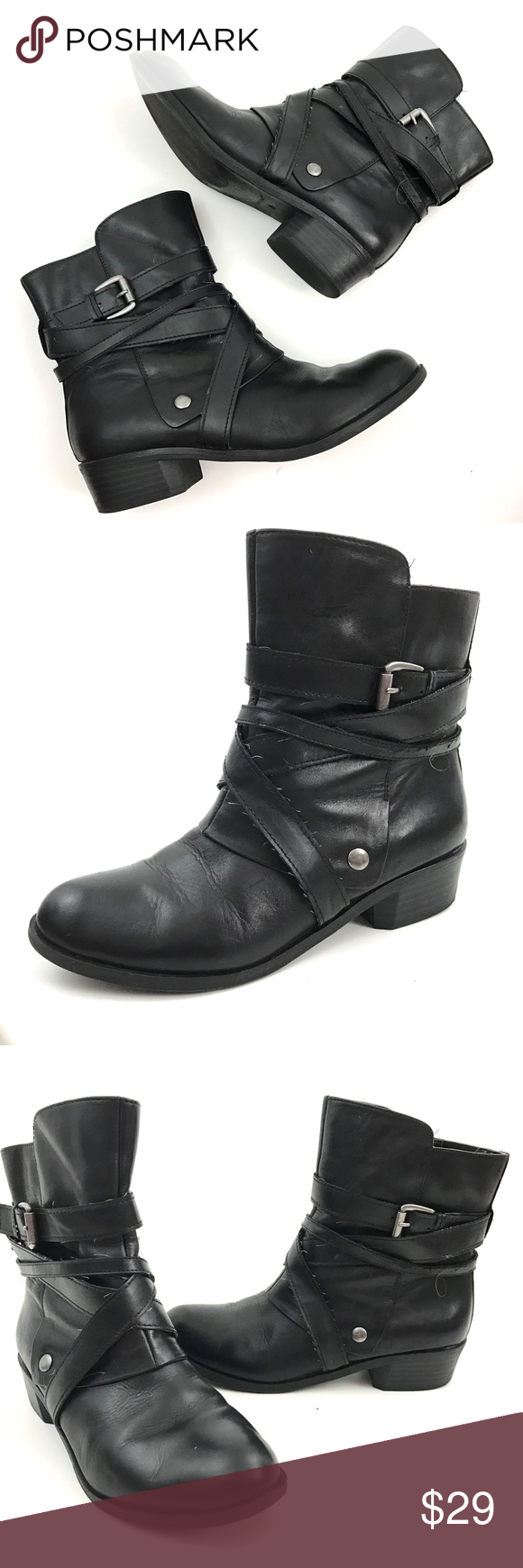 "Kelly & Katie Black Leather Ankle Boots Brand: Kelly & Katie  Size:9 M  Heel Height:1.5""  Boot Shaft: 6.5""  Circumference:5.5""  Platform Height:1/2""  Condition:Pre owned.In good Shape. Leather Has Been Recently conditioned. No Holes, Stains or Fading  Original Box/Dust Bag is Not Included     Item comes from a pet free/smoke free clean environment  please contact me for any additional questions  I offer combined shipping Kelly & Katie Shoes Ankle Boots & Booties"