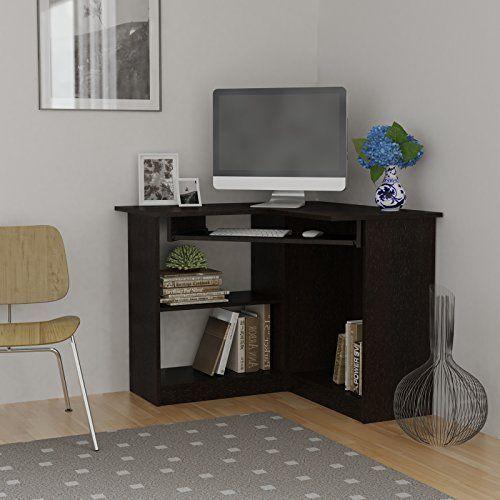 Essential Home Corner Computer Desk Espresso Small Corner Desk Desks For Small Spaces Computer Desks For Home