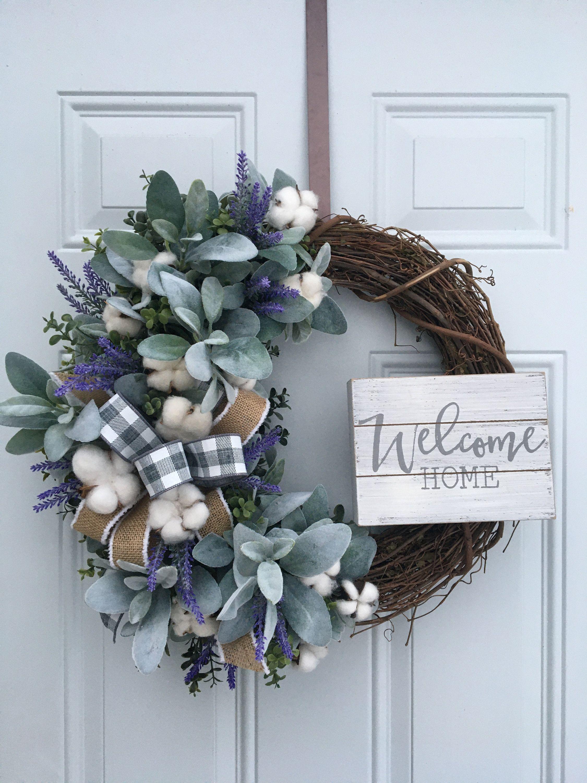 Photo of Farmhouse wreath, rustic wreath, lamb ear wreath, welcome wreath, cotton wreath, eucalyptus wreath, farmhouse decor, rustic welcome wreath